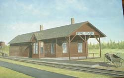 Original painting by Tom Ottoson, Pine River Alumni Pine River Depot As It Looked Circa 1913